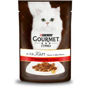 Корм полноценный для кошек с говядиной à la Jardiniere(а-ля Жардинье), морковью, томатом и цукини ТМ Gourmet (Гурме)