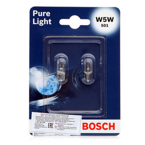 Лампа накаливания для фар и фонарей Pure Light W5W TM Bosch (Бош), 2 шт