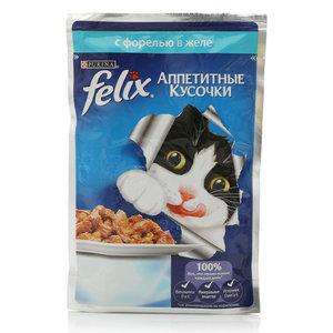 Корм полнорационный для взрослых кошек Аппетитные кусочки, с форелью в желе ТМ Purina (Пурина)