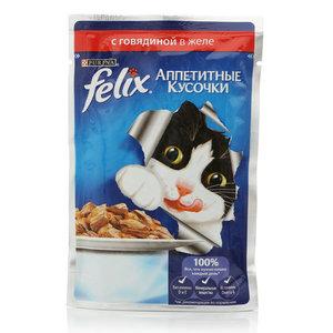 Корм полнорационный для взрослых кошек с говядиной в желе ТМ Felix (Феликс)