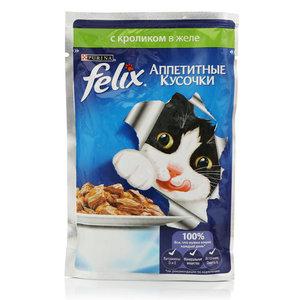 Корм полнорационный для взрослых кошек, с кроликом в желе Аппетитные кусочки ТМ Felix (Феликс)