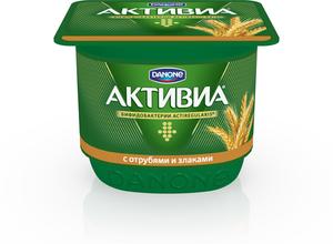 Йогурт (БиоЙогурт) с отрубями и злаками 2,9% ТМ Активиа, обогащенный бифидобактериями ActiRegularis
