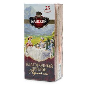 Чай черный благородный цейлон в пакетиках ТМ Майский, 25*2г