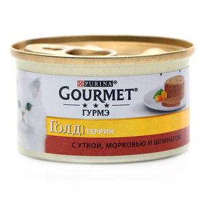 Корм кусочки в паштете Gold ( Голд) Террин  для взрослых кошек с уткой, морковью и шпинатом по-французски ТМ Gourmet (Гурме)