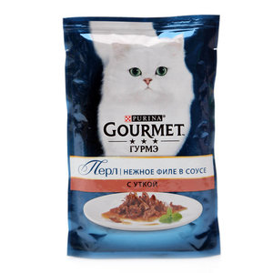 Корм консервированный полнорационный для взрослых кошек мини-филе в подливе с уткой ТМ Gourmet (Гурме)