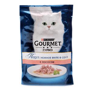 Корм консервированный полнорационный для взрослых кошек нежное филе в соусе с лососем ТМ Gourmet (Гурме)