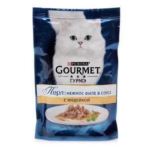 Корм полнорационный Мини-филе в подливе для взрослых кошек с индейкой ТМ Gourmet (Гурме )