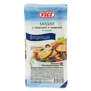 Мидии Флоренция с паприкой и оливками в масле ТМ Vici (Вичи)
