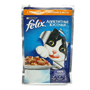 Корм консервированный полнорационный для взрослых кошек с курицей и томатами в желе ТМ Felix (Феликс)