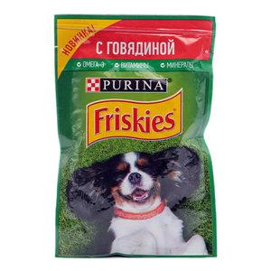 Корм консервированный полнорационный для взрослых собак кусочки с говядиной в подливе ТМ Friskies (Фрискис)