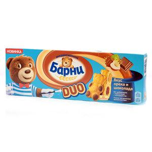 Пирожное бисквитное с шоколадной начинкой и начинкой со вкусом ореха ТМ Медвежонок Барни, 5 шт