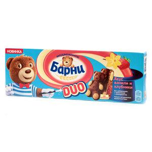 Пирожное бисквитное с клубничной начинкой со вкусом ванили ТМ Медвежонок Барни, 5 шт