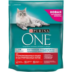 Корм сухой полнорационный для стерилизованных кошек и котов, с говядиной и пшеницей ТМ Purina One  (Пурина Уан)