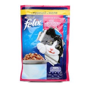 Корм полнорационный для котят, с курицей в желе  ТМ Felix (Феликс)