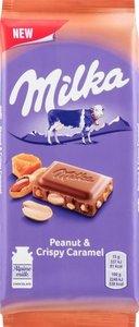 Шоколад молочный Milka с арахисом, кусочками хрустящей карамели, рисовыми шариками и кукурузными хлопьями, 90 г