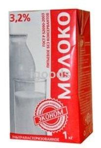 """Молоко питьевое """"Эконом"""" ультрапастеризованное, м.д.ж. 3,2%"""
