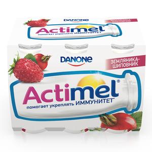 Напиток кисломолочный с земляникой и шиповником 1,5% ТМ Actimel (Актимель), 6*100 мл
