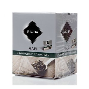 Чай зеленый байховый изумрудные спиральки ТМ Rioba (Риоба), 20 пакетиков