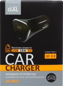 Автомобильное зарядное устройство универсальное QC 3.0 UC-4417 для портативных устройств с разъемом USB, 18 Вт ТМ Gal (Гал)