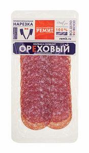 Колбаса сырокопчёная сервелат Ореховый нарезка ТМ Ремит