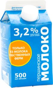 БЗМЖ Молоко пастер Першинское 3,2%, 0,5л пюр-пак