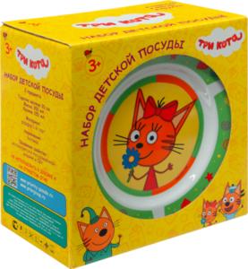 Набор посуды Три кота 3 предмета фарфор в ассортименте
