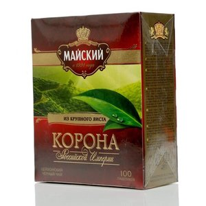 Чай черный цейлонский Корона Российской Империи ТМ Майский, 100 пакетиков