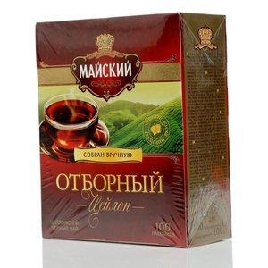 Чай черный цейлонский Отборный ТМ Майский, 100 пакетиков
