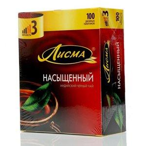 Чай индийский в пакетиках черный насыщенный ТМ Лисма 100 пакетиков