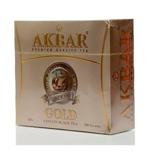 Чай черный Gold ТМ Akbar (Акбар), 100 пакетиков