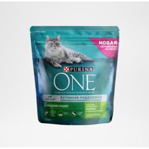Корм полнорационный для взрослых кошек живущих в домашних условиях с индейкой и цельными злаками ТМ Purina One (Пурина Уан)