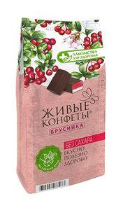 Мармелад+суфле Лакомства для здоровья с брусникой в горьком шоколаде 150г