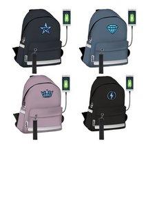 Рюкзак мягкий со светящимся элементом из светового волокна Powerbank (Повербанк) в комплекте. Размер: 38 x 24 x 14 см. Seventeen Color optic fiber