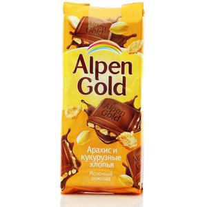 Шоколад молочный Арахис и кукурузные хлопья ТМ Alpen Gold ( Альпен Голд)