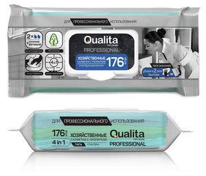 Влажные салфетки хозяйственные с пропиткой ТМ Qualita (Квалита), 176 шт