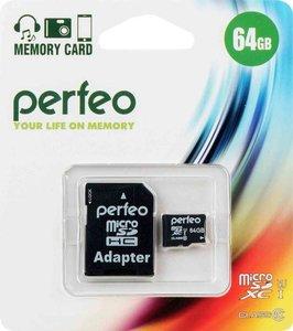 Карта памяти Micro SDXC High-Capacity с адаптером, 64 Gb ТМ Perfeo (Перфео)