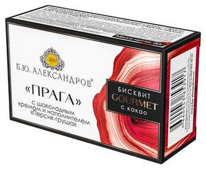 Бисквит с какао Прага с шоколадным кремом и наполнителем персик-груша ТМ Б.Ю. Александров