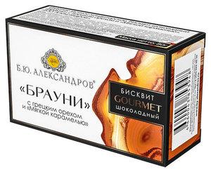 Бисквит шоколадный Брауни с грецким орехом и мягкой карамелью ТМ Б.Ю. Александров