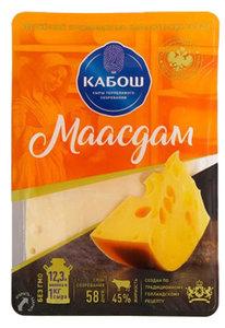 Сыр полутвердый Маасдам 45%, нарезка ТМ Кабош