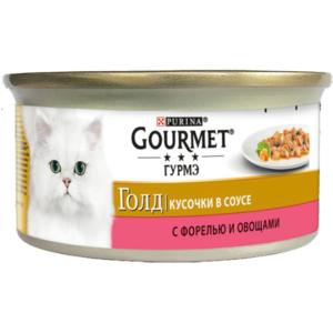 Корм  полнорационный кусочки в соусе для взрослых кошек с форелью и овощами ТМ Gourmet (Гурмэ)