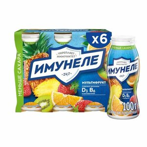 Напиток кисломолочный Мультифрукт 1,2% 100 г*6 шт ТМ Имунеле