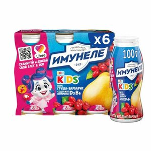 Напиток кисломолочный for Kids (фо Кидс) Груша, Барбарис 1,5% 100 г*6 шт ТМ Имунеле