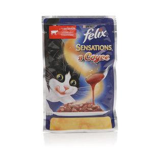 Корм полнорационный для взрослых кошек Sensations(Сенсейшен) c говядиной в соусе с томатами ТМ Felix (Феликс)