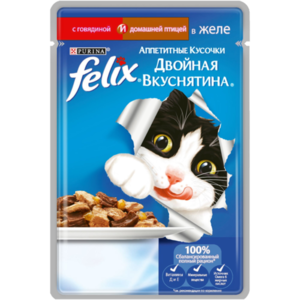Корм для взрослых кошек с говядиной и домашней птицей в желе Двойная вкуснятина ТМ Felix (Феликс)