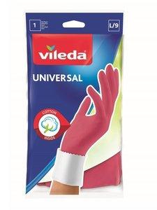 Перчатки хозяйственные универальные с хлопковым напылением - размер L ТМ Vileda (Виледа)