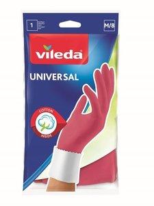 Перчатки хозяйственные универсальные с хлопковым напылением - размер M ТМ Vileda (Виледа)