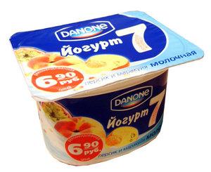 Йогурт молочный с персиком и маракуйей 1,5 % ТМ Danone (Данон)