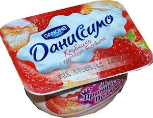 Творожок Даниссимо с клубникой и кусочками бисквита ТМ Danone (Данон)
