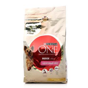 Корм сухой полнорационный для взрослых собак мелких пород с хорошим аппетитом, с индейкой и рисом ТМ Purina one  (Пурина Уан)