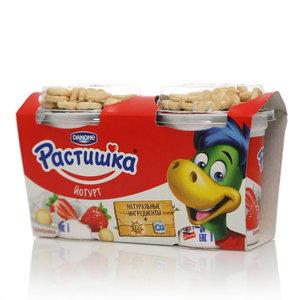 Йогурт с клубникой и печеньем 3,0% 2*117г ТМ Растишка